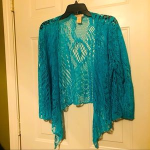 Beautiful Lacey Teal/Cerulian Blue Shrug!
